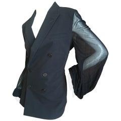 Jean Paul Gaultier 1980's Tuxedo Jacket w. Sheer Poet Sleeves