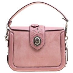 Coach Bubble Gum Suede and Leather Tea Rose Tooling Page Shoulder Bag