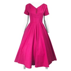 1950s Anne Fogarty Hot Pink Silk Vintage 50s Fit n' Flare New Look Dress