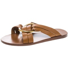 Chloe Brown Leather Rony Crisscross Flat Sandals Size 37
