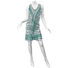Roberto Cavalli Early 2000s Green White Snake Skin Reptile Silk Jersey Dress
