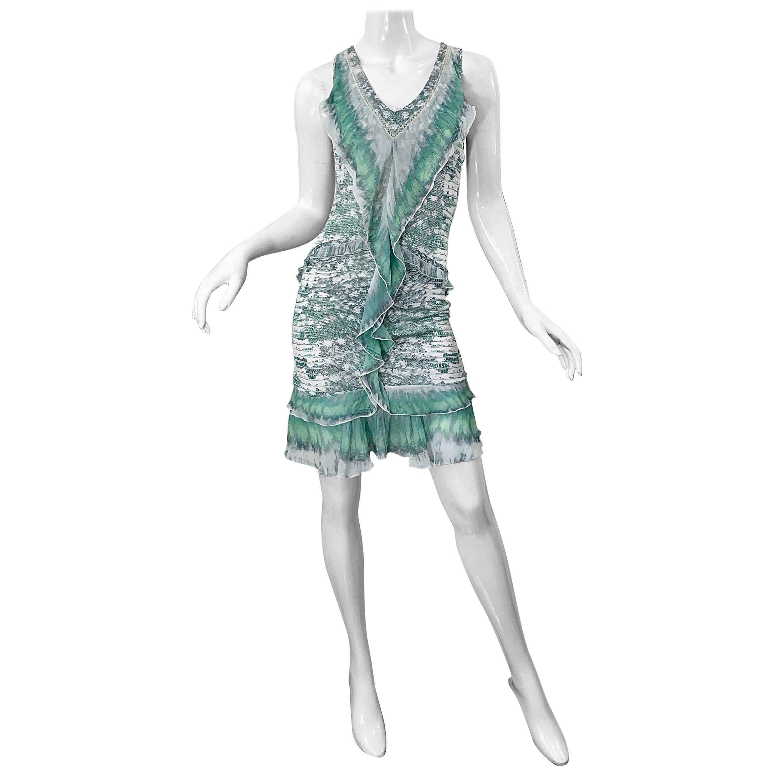 72dba753a04cd Roberto Cavalli Early 2000s Green White Snake Skin Reptile Silk Jersey Dress  at 1stdibs