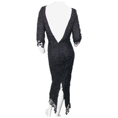 Stunning $10k Vintage Halston Black 3/4 Sleeves Silk Lace Crochet Sz 4 6 Dress