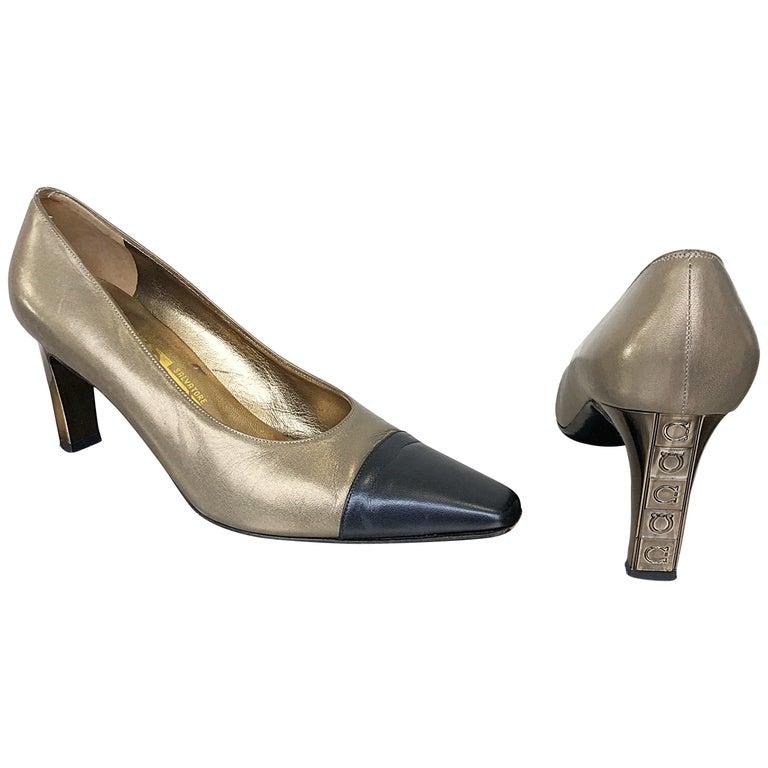 c8875d3cf2378 Salvatore Ferragamo Size 9.5 1990s Vintage Bronze Gold + Navy Blue High  Heels