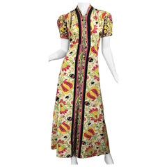 Amazing 1940s Botanical Asian Inspired Paisley Cotton + Linen 40s Maxi Dress