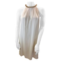 Rebecca Taylor White Dress with Gold Beaded Trim NWT
