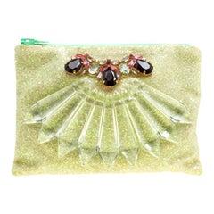 Mawi Lime Glitter Crystal Embellished Single Clutch
