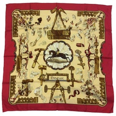 Hermes Red and Tan Print Silk Scarf