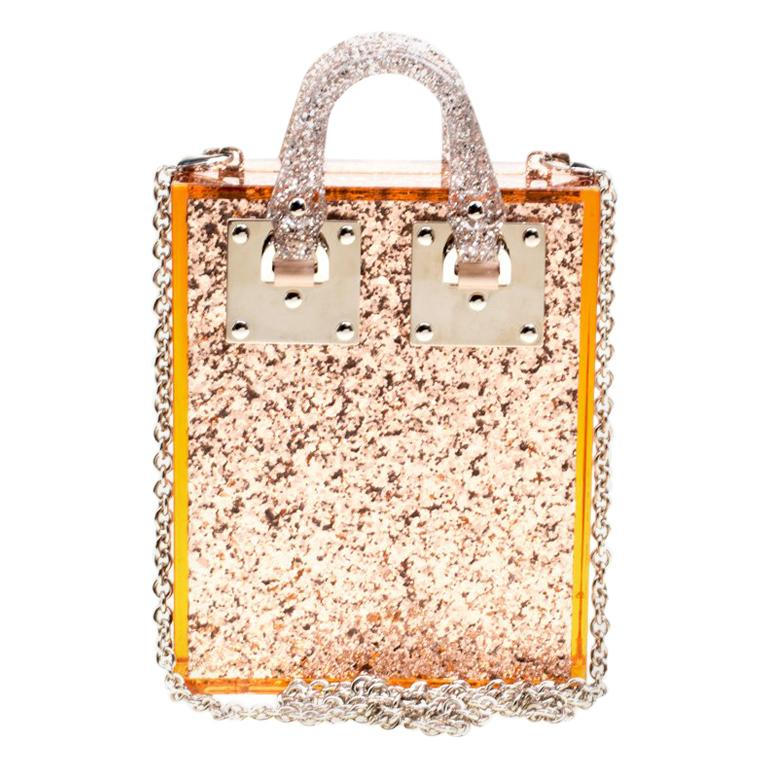 Sophie Hulme Clear Brown Glitter Perspex Compton Crossbody Bag For Sale