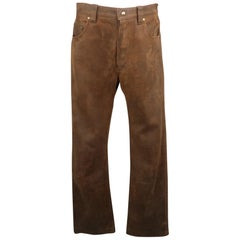 LEVI'S Size 30 Brown Distressed Leather 30 Snaps Casual Pants
