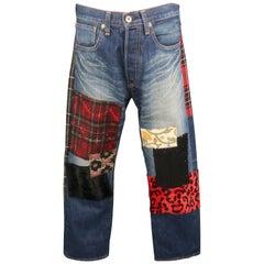 JUNYA WATANABE Size M Indigo Patchwork Selvedge Denim Button Fly Jeans