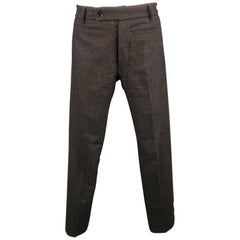 RICK OWENS Size 30 Charcoal Solid Wool 30 Button Fly Dress Pants