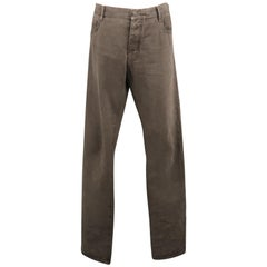 NICOLAS A. TARALIS Size 34 Grey Solid Cotton Button Fly Casual Pants