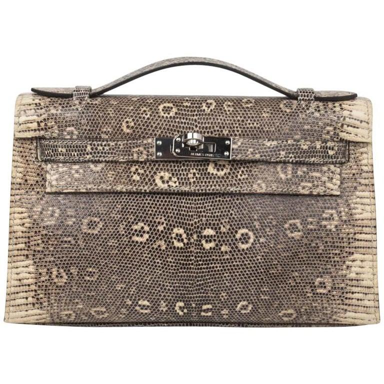 c6173306f810 Hermes Kelly Pochette Bag Ombre Lizard Clutch Palladium Hardware Very Rare  For Sale