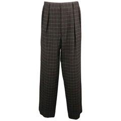 RALPH LAUREN Size 34 Black & Grey Window Pane Cashmere 31 Pleated Dress Pants