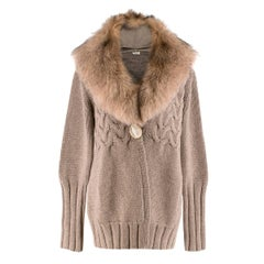 Agnona Brown Fox-Fur Collar Cashmere Knit Jacket US 8