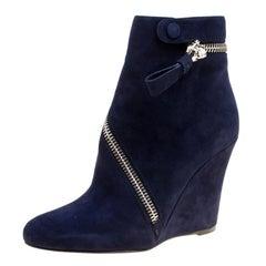 Alexander McQueen Indigo Blue Suede Spiral Zp Detail Wedge Ankle Boots Size 38.5