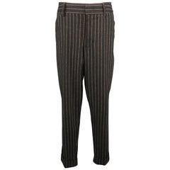 DOLCE & GABBANA Size 35 Charcoal Chalkstripe Wool Blend 29 Cuffed Dress Pants