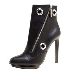 Alexander McQueen Black Leather Eyelet Detail Ankle Boots Size 38.5