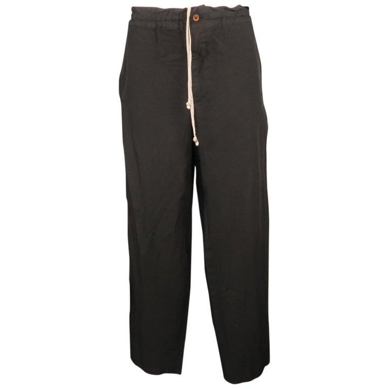 COMME des GARCONS HOMME PLUS Size L Black Solid 30 Drawstring Casual Pants For Sale