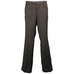 GUCCI Size 34 Charcoal Stripe Rayon / Viscose 33 Zip Fly Dress Pants