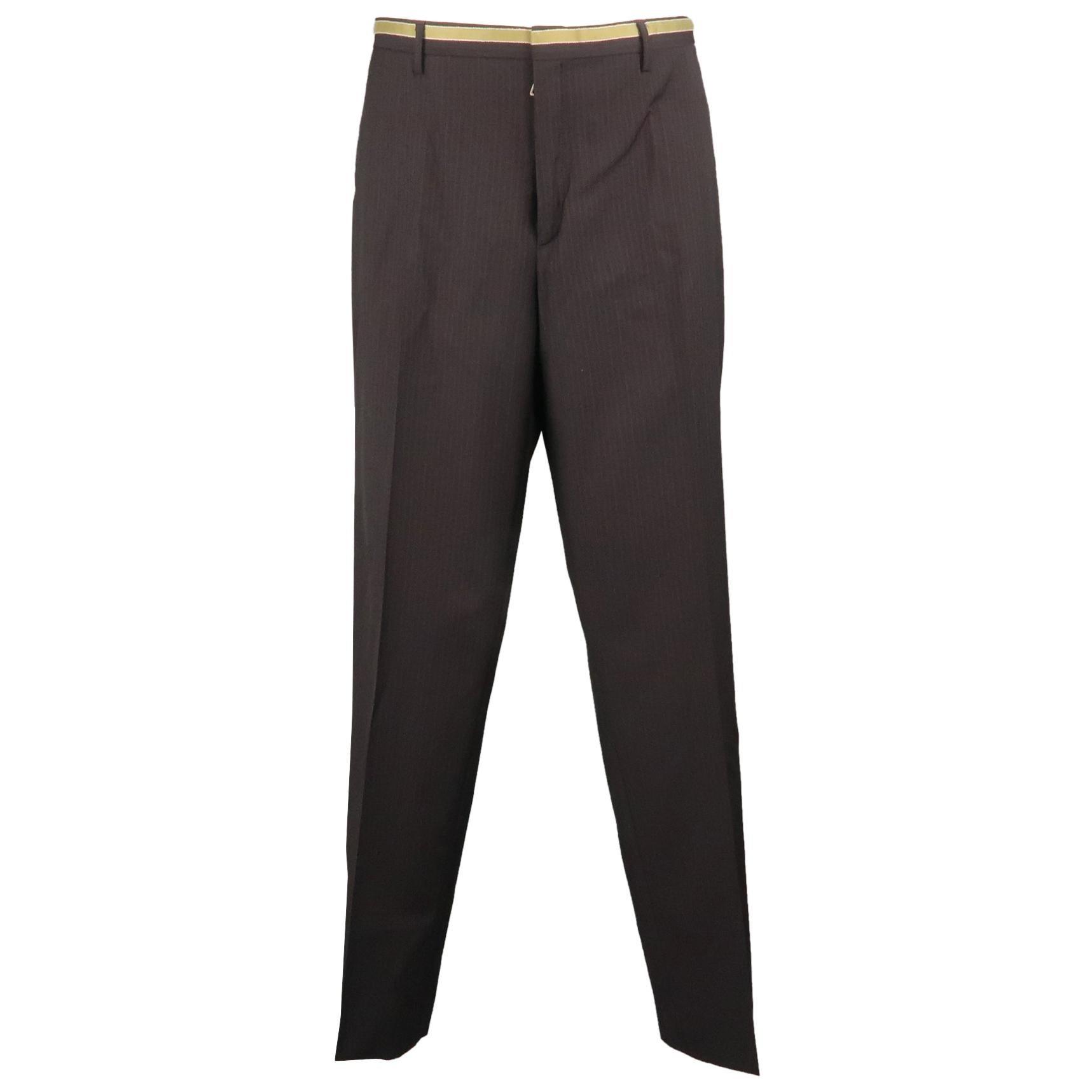 PRADA Size 34 Black Stripe Wool 32 Flat Front Dress Pants