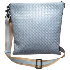 Bottega Veneta Woven Baby Blue Leather Convertible Messenger Shoulder Bag