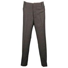 GUCCI Size 34 Black Stripe Wool 32 Zip Fly Dress Pants
