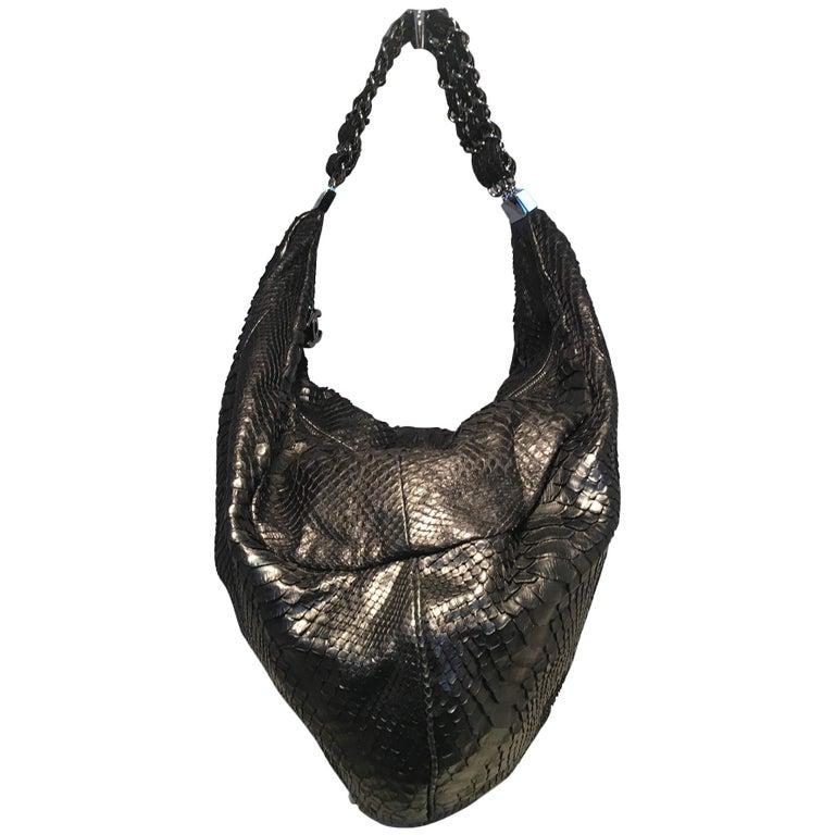 37fa866f0aab RARE Chanel Runway Black Python Snakeskin Hobo Shoulder Satchel Bag For Sale