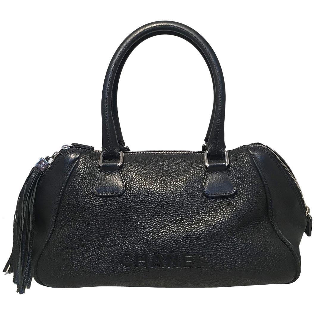 Chanel Lax Black Leather Tassel Bag