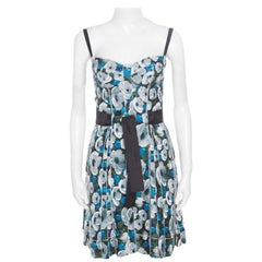 Louis Vuitton Floral Printed Silk Belted Pleated Bustier Dress S