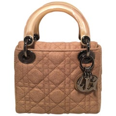 Dior Vintage Mini Lady Dior Tan Brown Wool Cannage Quilted Bag
