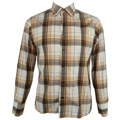 553b4696d TOM FORD Size L Beige & Brown Gingham Cotton Spread Collar Long Sleeve Shirt