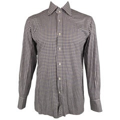 TOM FORD Size L Navy & White Plaid Cotton Button Up Long Sleeve Shirt