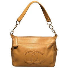 Chanel Tan Caviar CC Shoulder Bag