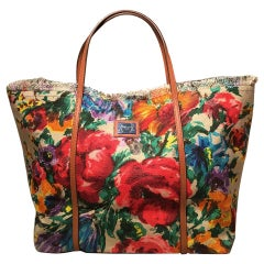 Dolce and Gabbana Floral Print XL Canvas Tote Weekend Bag
