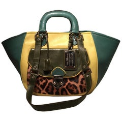Dolce and Gabbana Green Color Block Miss Catch Large Lock Tote