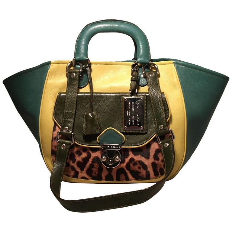 c3a0816374 Dolce and Gabbana Green Color Block Miss Catch Large Lock Tote For Sale