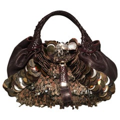 Fendi Borsa Spy Bag in Brown Leather fringe and Zucca Canvas