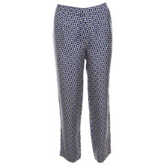 Dior Multicolor Geometric Printed Silk Pants M