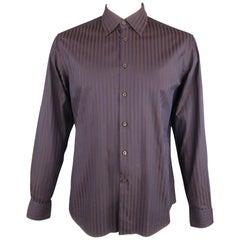 PRADA Size L Brown & Navy Stripe Cotton Pointed Collar Long Sleeve Shirt