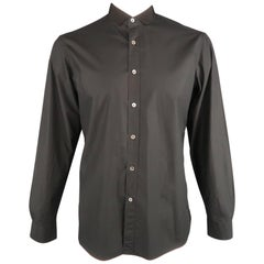 LANVIN Size L Black Solid Cotton Button Up Long Sleeve Shirt