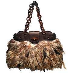 Salvatore Ferragamo Brown Leather Pheasant Feather Shoulder Bag Tote