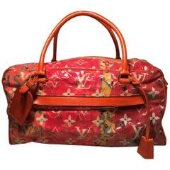 LOUIS VUITTON Richard Prince Pink Orange Denim Defile Weekender PM Pulp Bag