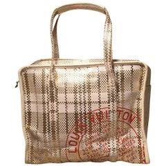 Louis Vuitton White and Gold Braided Street Shopper PM Tote