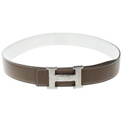 Hermès Taupe/White Leather Reversible Silver Hammered Finished Buckle Belt 80cm