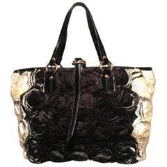 Valentino Black and White Silk Rosier Roses Tote Bag