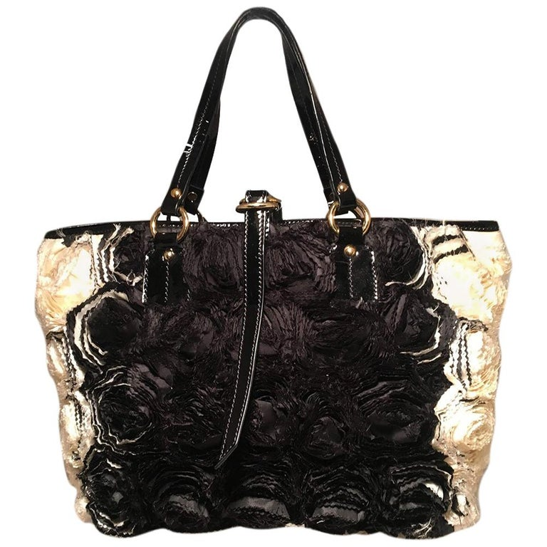 Valentino Black and White Silk Rosier Roses Tote Bag For Sale