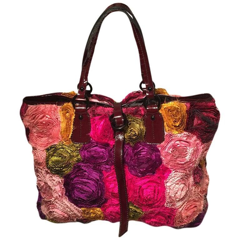 Valentino Multicolor Silk Rosier Rosettes Tote Bag For Sale