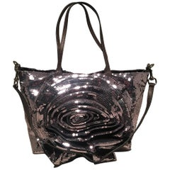 Valentino Grey Silver Sequin Petale Tote Bag